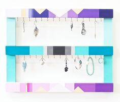 Jewelry Organizer Wall Mounted Jewelry Holder Black White Aqua