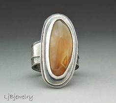 Silver Ring Laguna Agate Ring Sterling Silver Laguna by LjBjewelry, $205.00