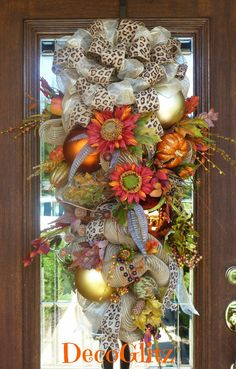 Fall or Thanksgiving Burlap Mesh Swag Wreath with by decoglitz