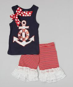 Loving this Navy Anchor Tank & Red Ruffle Shorts - Infant, Toddler & Girls on #zulily! #zulilyfinds