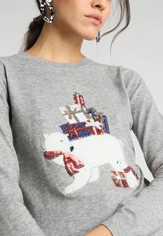 Dorothy Perkins CHRISTMAS MUMMY POLAR BEAR - Pullover - grey - ZALANDO.CH Pulls, Polar Bear, Graphic Sweatshirt, Pullover, Sweatshirts, Grey, Sweaters, Christmas, Fashion