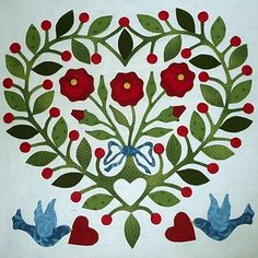 The Rose and Cherry Heart Quakertown Quilts, applique quilt block