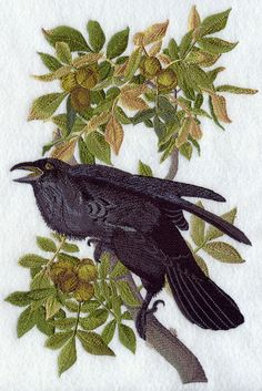 Common Raven - embroidery design taken from Audubon print for hand towels