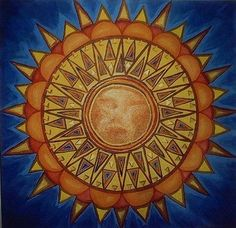 Aztec Sun Painting by J Andrel