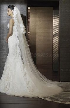 Sexy Sleeveless Thick Straps Zip up Mermaid Tulle Bridal Gown - US$270.89 - ninedresses.com