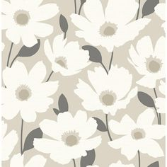 Brewster Astera Beige Floral Beige Paper Strippable Roll (Covers 56.4 sq. ft.)