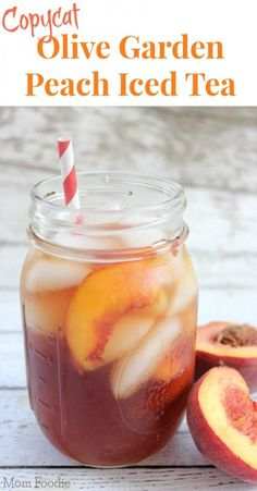 Copycat Olive Garden Peach Iced Tea Recipe _ There is something extra refreshing about Peach Iced Tea, it is one of my favorite drinks to get at Olive Garden. Today, I have a copycat recipe for Olive Garden Peach Iced Tea to share with you. Refreshing Drinks, Summer Drinks, Fun Drinks, Healthy Drinks, Cold Drinks, Peach Drinks, Healthy Food, Mixed Drinks, Desserts