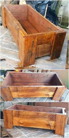 This is an amazing piece creation of the wood pallet planter box piece work in i… - Pallet Projects Wood Pallet Planters, Pallet Boxes, Diy Planter Box, Diy Planters, Wooden Pallets, Garden Pallet, Salvaged Wood, Pallet Flower Box, Pallet Pergola