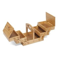HobbyGift GB8450 Vintage Style Wood Cantilever Sewing Storage Box 31 x 25 x 24cm
