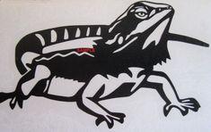 Fear The Beard! Bearded Dragon Vinyl Decal - Sticker - Any Color Bearded Dragon Funny, Bearded Dragon Habitat, Bearded Dragon Diet, Dragon Tattoo Stencil, Dragon Silhouette, Easy Pets, Dragon Cross Stitch, Pet Turtle, Dragon Art