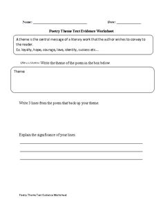 Theme Text Evidence Worksheet   English Language Arts   Pinterest ...