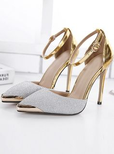 fe8e546f9dc Silver Ankle Strap Stiletto Pumps Heels with Sequins with cheap wholesale  price