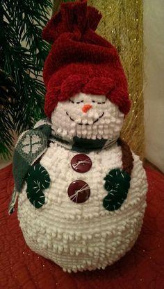 Handmade Vintage White Chenille Hobnail Bedspread Snowman Christmas Decoration