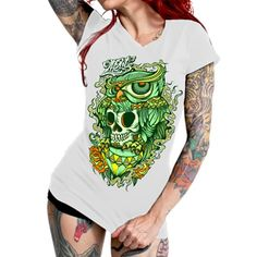 "Women's ""Look At Me"" V-Neck Tee by 2K2BT (White) #InkedShop #graphictee #tee #womenswear"