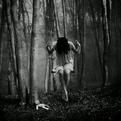 alone, black and white, creepy, dark, girl, psycho, suffer, wood ...