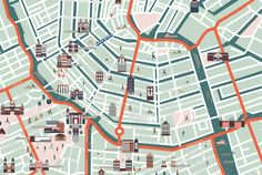 Map illustrations for Hello Amsterdam on Behance