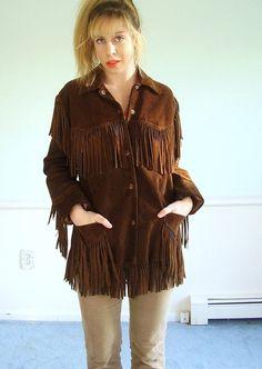 Easy Rider Vintage 70s Fringed Leather Hippie Jacket Coat S M