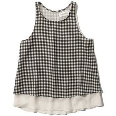 Abercrombie & Fitch Drapey Tiered Tank ($38) ❤ liked on Polyvore featuring tops, black check, black chiffon tank top, tiered top, drape top, black singlet and black keyhole top