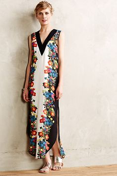 Bohemian is my style and Anthropologie maxi dresses with detail are my favorites. Look at that flora!