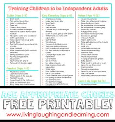 Age-Appropriate Chore Charts Free Printable