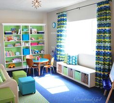 I like the horizontal Expedit shelf (Ikea) for under the window.  Also like the look of the Billy built-ins.