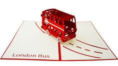 London Bus 3D Pop-Up Card London Bus, Pop Up, Transportation, Cards, Popup, Maps, Playing Cards