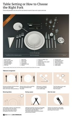 Got invited into a very formal dinner? Here's a guide to help you maneuver the intricate world of formal dining. Make sure you choose the right fork for the right dish. Dinning Etiquette, Cena Formal, Beste Mama, Etiquette And Manners, Table Manners, Formal Dinner, Dessert Cups, Kitchen Hacks, Fine Dining