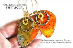 Free Polymer Clay Tutorial - How to create faux enamelling using your embossing powders – 2 polymer clay projects by Iris Mishly, via Flickr