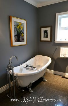 benjamin moore dior gray dark gray charcoal with purple undertone in bathroom with shiny porcelain gray flooring