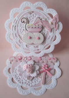 Baby Girl Cards, New Baby Cards, Butterfly Cards, Flower Cards, Shabby Chic Cards, Shaped Cards, Fancy Fold Cards, Easel Cards, Baby Shower Cards