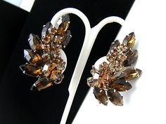 Vintage Rhinestone Earrings Brown Glass Climber Type Clips  - Found on Lookza.com