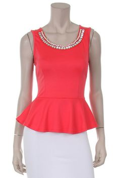 Ponte Peplum Top in Coral - Andreas Boutique