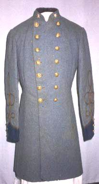 "CSA uniform coat of Major William G. Poole  Major Poole was a veteran of the 1st Florida Infantry; an adjutant on General William Hardee's staff; and finally served as an adjutant to Brig. General William Miller at the Battle of Natural Bridge in March 1865. This coat bears federal-pattern staff officer's buttons, which commonly were worn by Confederate officers. The blue-gray shade of the uniform is called ""cadet gray"" and was similar to the color of dress uniforms worn by cadets at West…"