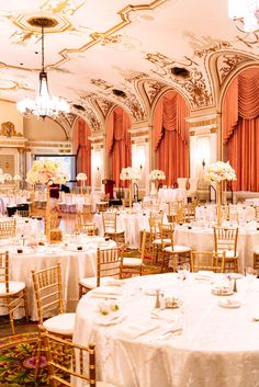 Amazing gold and ivory ballroom wedding reception  {Photo by Joel Bedford Photography via Project Wedding}