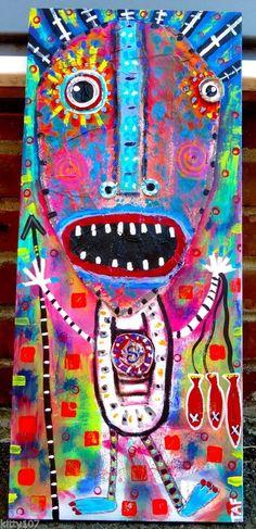 Tracey Ann Finley Original Outsider Raw Folk Graffiti Art Tiki Spear Fisherman #OutsiderArt