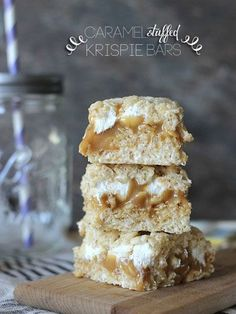 These caramel stuffed rice krispies are gooey and delicious.