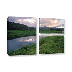 ArtWall Kathy Yates's Hanalei River Reflections, 3 Piece Gallery Wrapped Flag Set