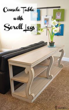 #woodworkingplans #woodworking #woodworkingprojects Build a console table with awesome scroll legs, definitely a statement piece! Free woodworking plans.