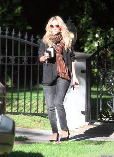 Black jumper, scarf, old black jeans