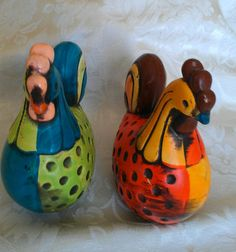 Unique Set Hand Painted Roosters Bright Colorful Chickens Ceramic Retro 70s Look