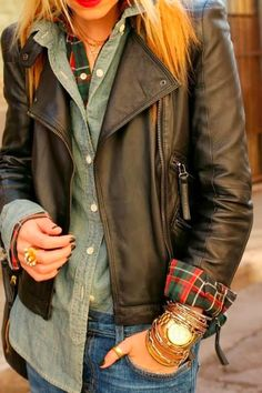 Amazing Brown Leather Jacket With Grey Shirt and Jeans, Stacked Bracelets