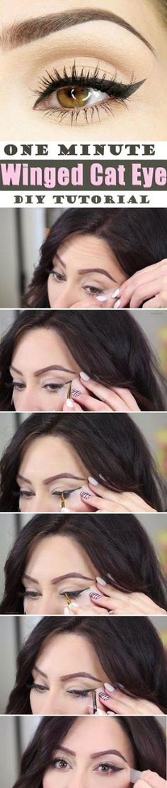 Brief Step by step Tutorial for Surprising One Minute Winged Cat Eye Makeup. Easy and Quick. Brief Step by step Tutorial for Surprising One Minute Winged Cat Eye Makeup. Easy and Quick. Cat Eye Makeup, Diy Makeup, Love Makeup, Makeup Looks, Makeup Monolid, Makeup Ideas, Maquillage Pin Up, Cat Eye Tutorial, Diy Tutorial