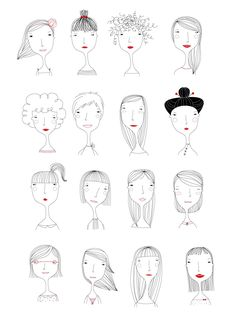 Elichkata ladies diy アート, character illustration, hair illustration, people illustration, line art Doodle Drawings, Doodle Art, Easy Drawings, People Illustration, Illustrations, Illustration Art, Character Illustration, Illustration Mignonne, Drawn Art