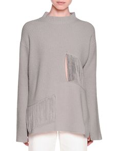 Long-Sleeve Mock-Neck Ribbed Sweater & High-Waist Culotte Jeans