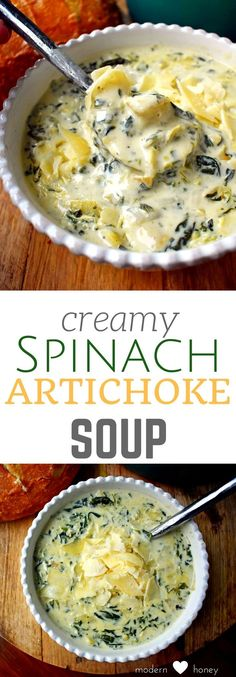 Creamy Spinach Artichoke Soup. The popular dip made into a soup. Rich parmesan cream broth, spinach, artichokes, and spices make this the perfect soup for a cold winter's day. Can be made in the crockpot too.