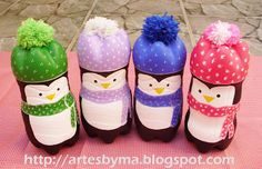 pinguins de garrafa pet