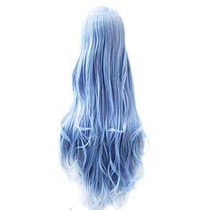 sem tampa extra longo do corpo de onda sintética ciano peruca de cabelo partido - BRL R$ 65,29
