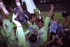March 25, 1992: Imran Khan and his forces win the Benson and Hedges World Cup for Pakistan. They beat favorites England by 22 runs at the Melbourne Cricket Ground. Click the pic for the match at a glance.