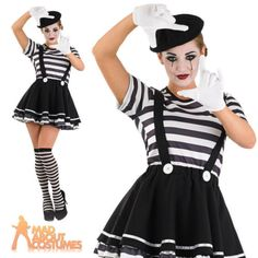 Adult mime #artist costume womens #french #street circus fancy dress outfit, View more on the LINK: http://www.zeppy.io/product/gb/2/161446254190/