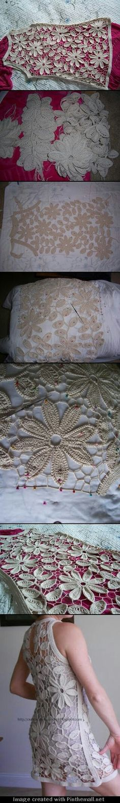 russian irish crochet from outstanding crochet - stunning dress. I can't wait till I am good enough to accomplish something so glorious as this. Filet Crochet, Freeform Crochet, Crochet Motif, Crochet Designs, Crochet Flowers, Crochet Lace, Crochet Stitches, Crochet Patterns, Doilies Crochet